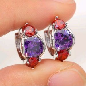 Silver Plated Amethyst and Garnet Hoop Earrings
